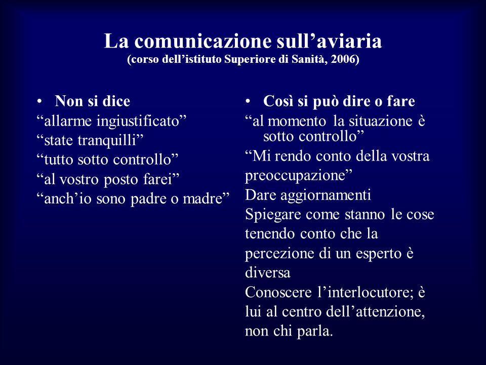 La comunicazione sull'aviaria (corso dell'istituto Superiore di Sanità, 2006)