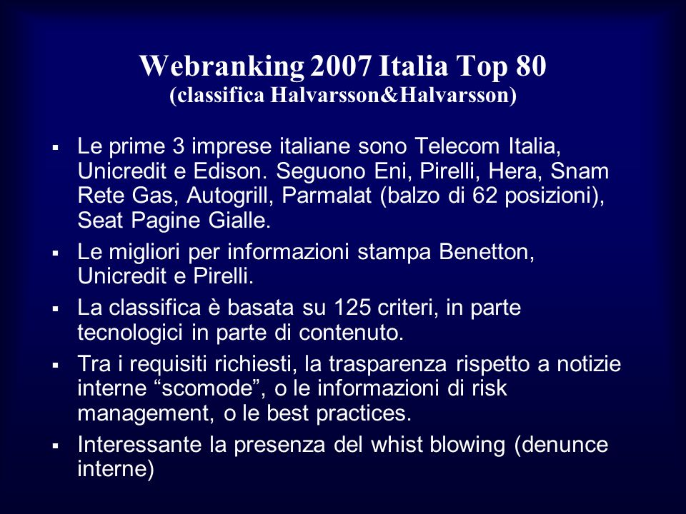 Webranking 2007 Italia Top 80 (classifica Halvarsson&Halvarsson)
