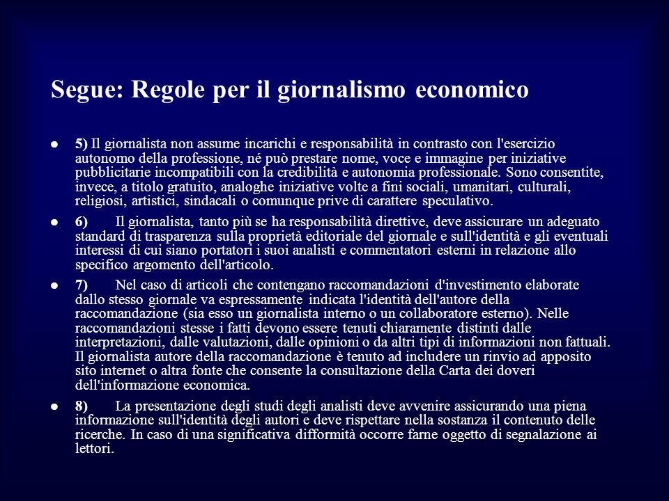 Segue: Regole per il giornalismo economico