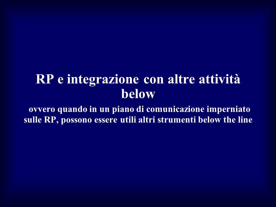 RP e integrazione con altre attività below ovvero quando in un piano di comunicazione imperniato sulle RP, possono essere utili altri strumenti below the line
