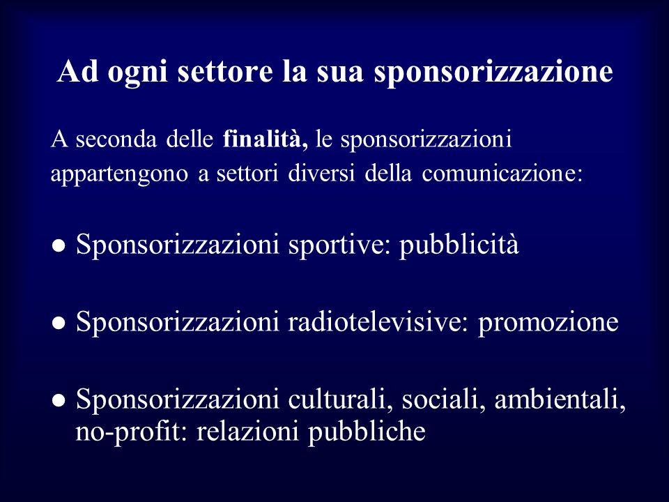 Ad ogni settore la sua sponsorizzazione