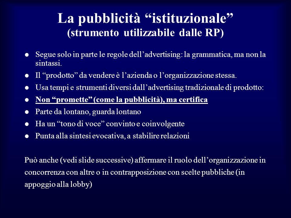La pubblicità istituzionale (strumento utilizzabile dalle RP)