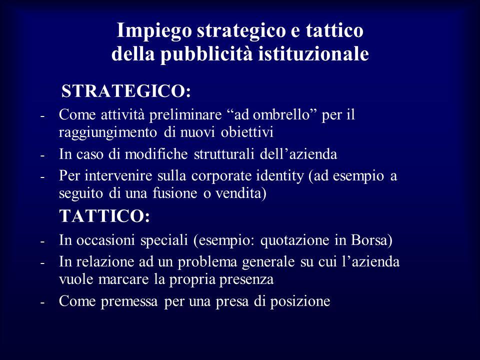 Impiego strategico e tattico della pubblicità istituzionale