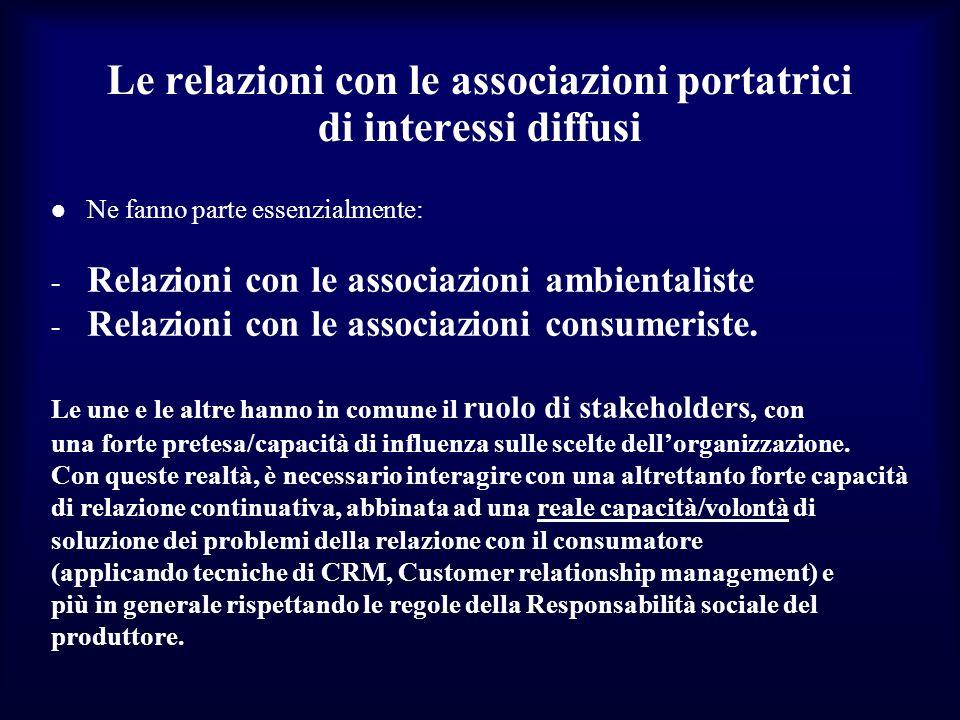 Le relazioni con le associazioni portatrici di interessi diffusi
