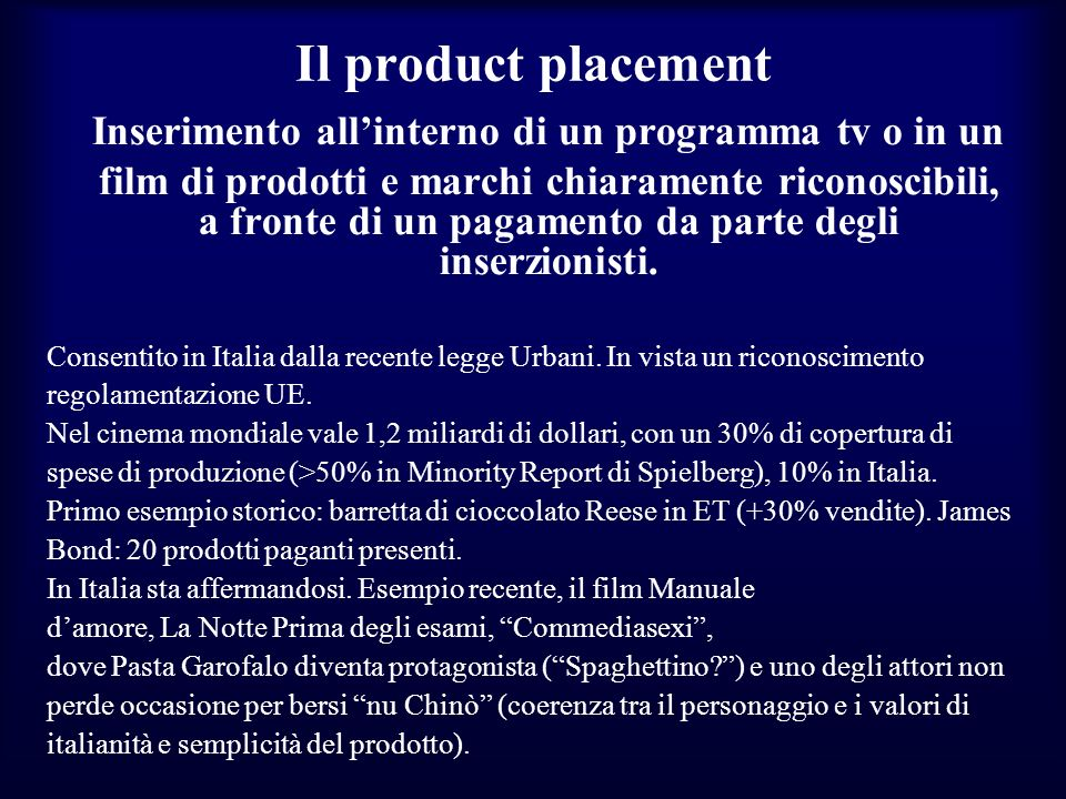 Inserimento all'interno di un programma tv o in un