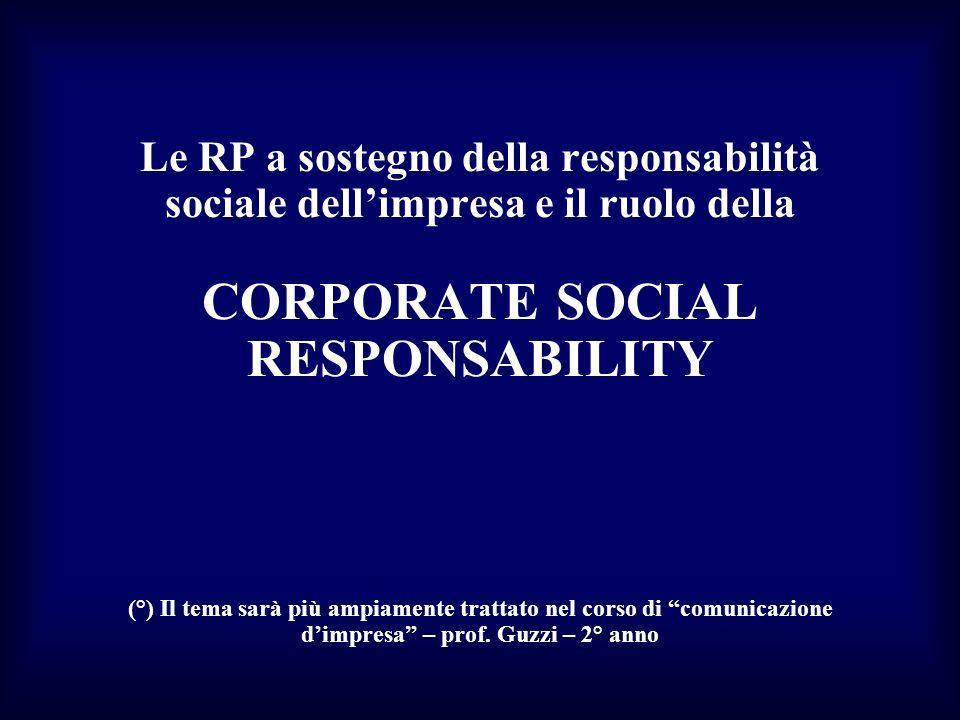 Le RP a sostegno della responsabilità sociale dell'impresa e il ruolo della CORPORATE SOCIAL RESPONSABILITY (°) Il tema sarà più ampiamente trattato nel corso di comunicazione d'impresa – prof.