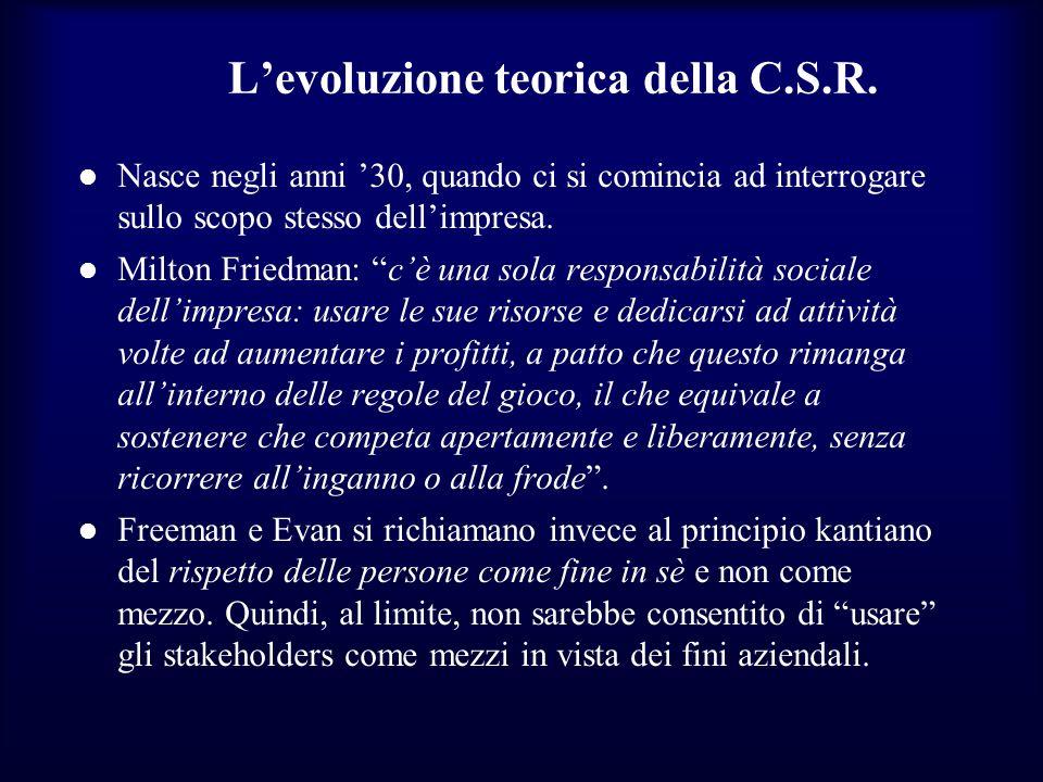 L'evoluzione teorica della C.S.R.