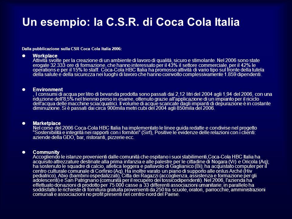 Un esempio: la C.S.R. di Coca Cola Italia