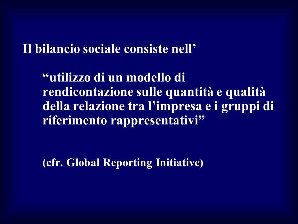 Il bilancio sociale consiste nell' utilizzo di un modello di rendicontazione sulle quantità e qualità della relazione tra l'impresa e i gruppi di riferimento rappresentativi (cfr.