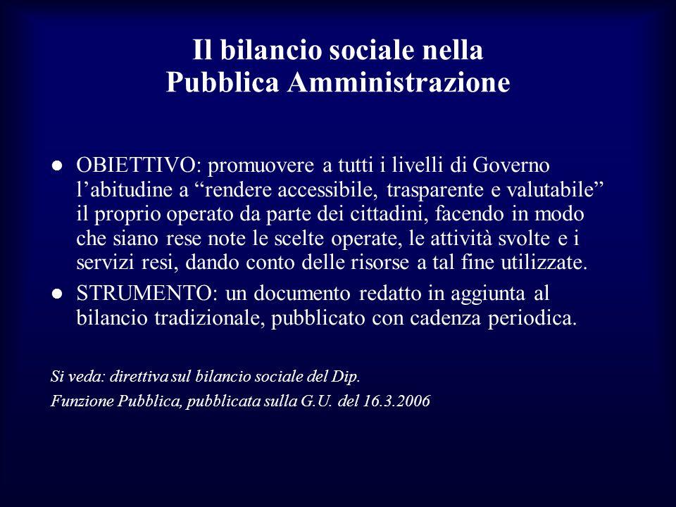 Il bilancio sociale nella Pubblica Amministrazione