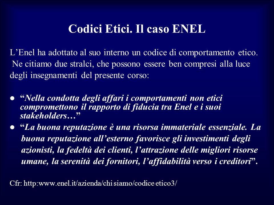 Codici Etici. Il caso ENEL