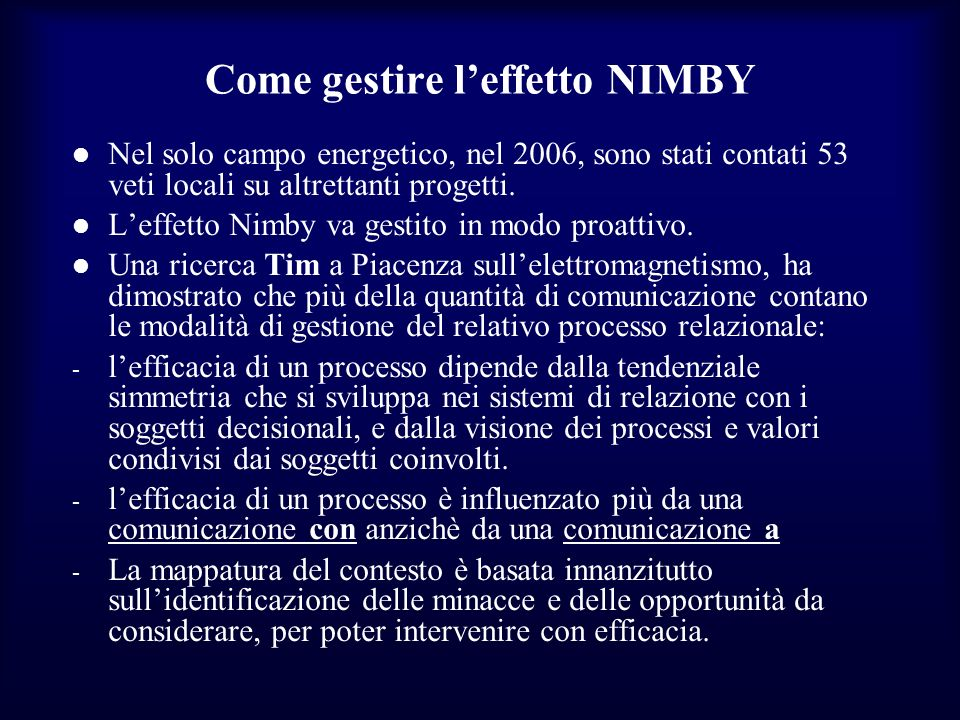 Come gestire l'effetto NIMBY