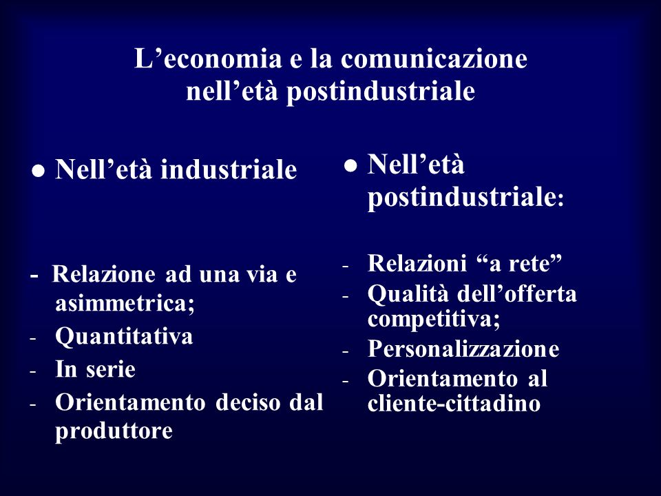 L'economia e la comunicazione nell'età postindustriale