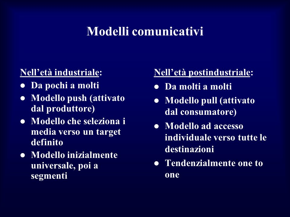 Modelli comunicativi Nell'età industriale: Da pochi a molti