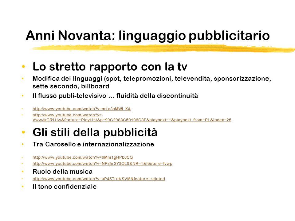 Anni Novanta: linguaggio pubblicitario