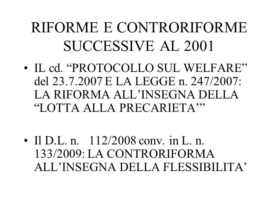 RIFORME E CONTRORIFORME SUCCESSIVE AL 2001