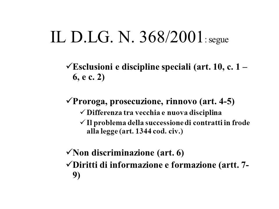 IL D.LG. N. 368/2001: segue Esclusioni e discipline speciali (art. 10, c. 1 – 6, e c. 2) Proroga, prosecuzione, rinnovo (art. 4-5)