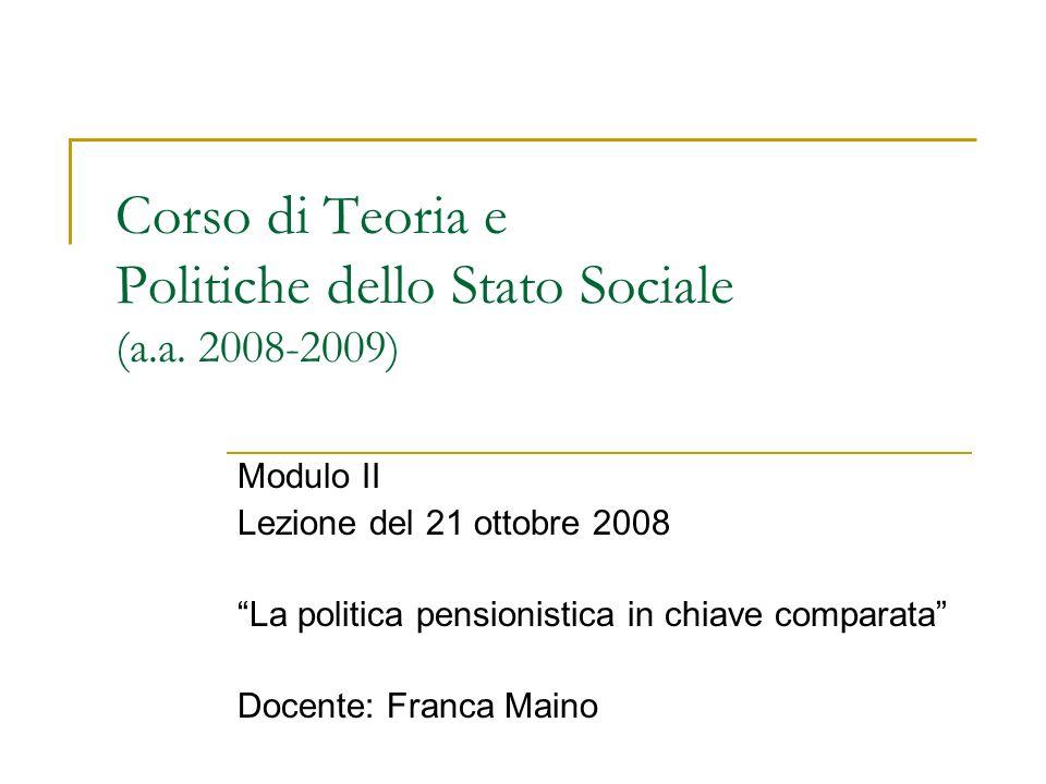 Corso di Teoria e Politiche dello Stato Sociale (a.a. 2008-2009)