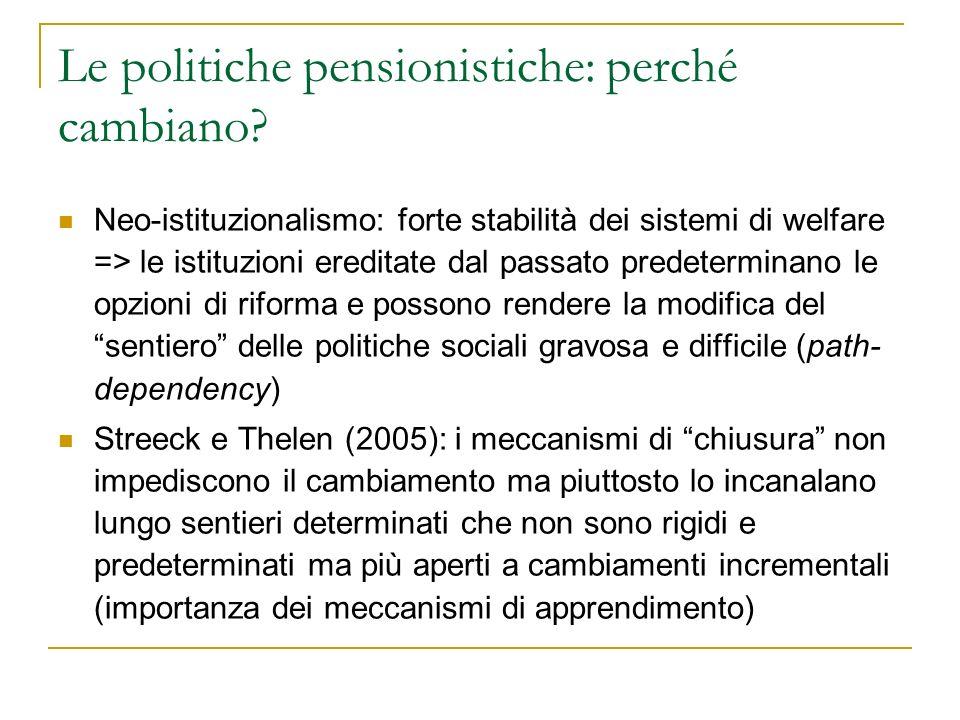 Le politiche pensionistiche: perché cambiano
