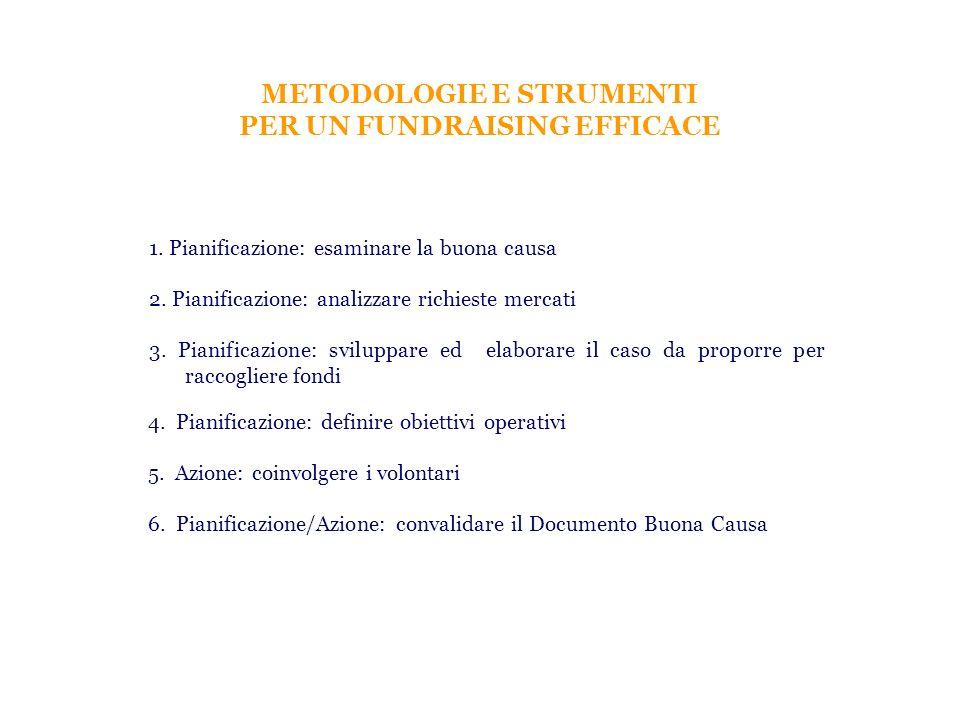 METODOLOGIE E STRUMENTI PER UN FUNDRAISING EFFICACE