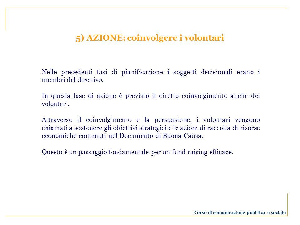 5) AZIONE: coinvolgere i volontari