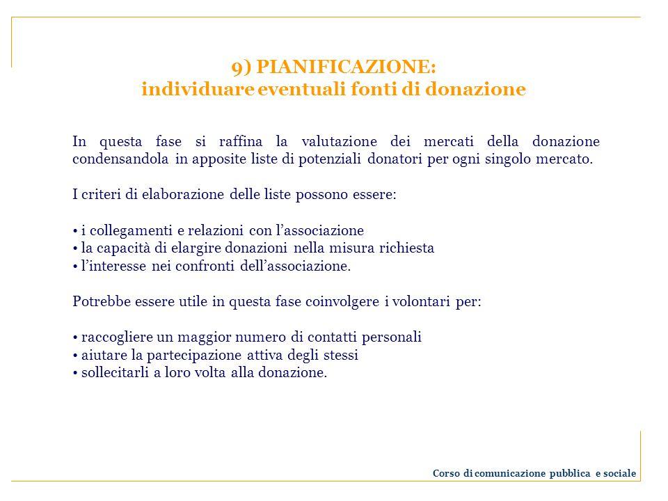 individuare eventuali fonti di donazione