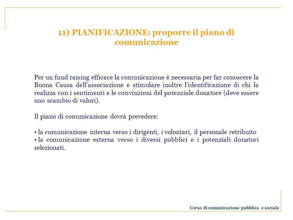 11) PIANIFICAZIONE: proporre il piano di comunicazione