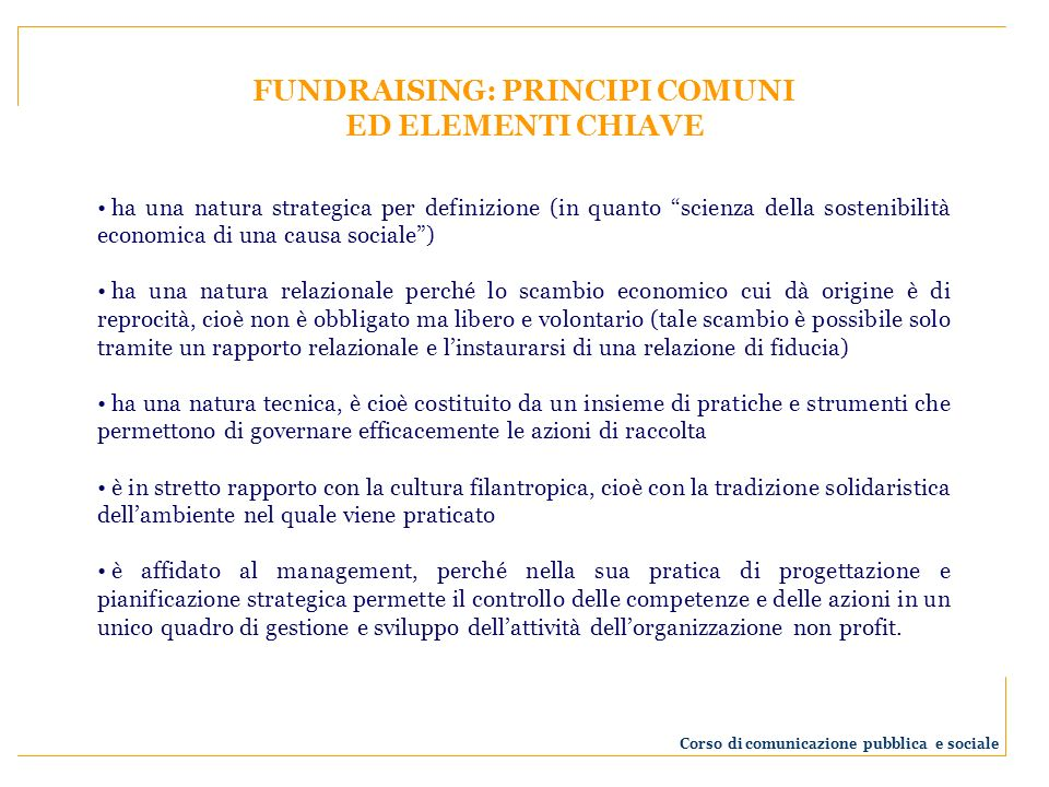 FUNDRAISING: PRINCIPI COMUNI