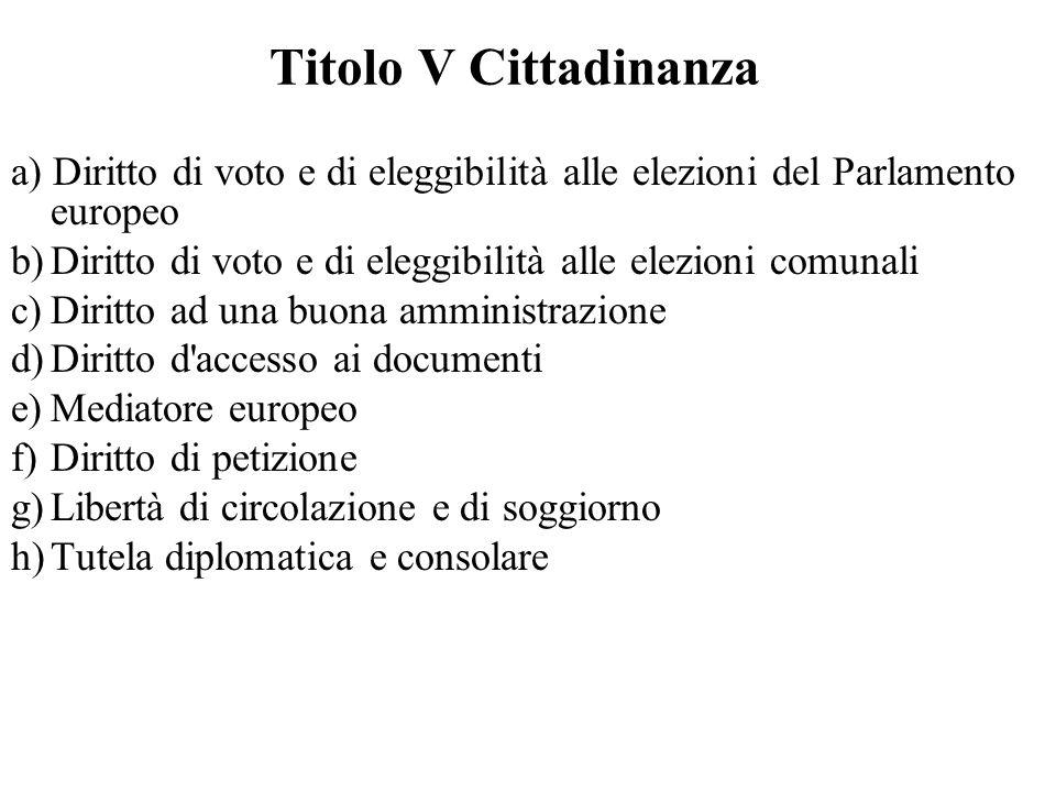 Titolo V Cittadinanza a) Diritto di voto e di eleggibilità alle elezioni del Parlamento europeo.