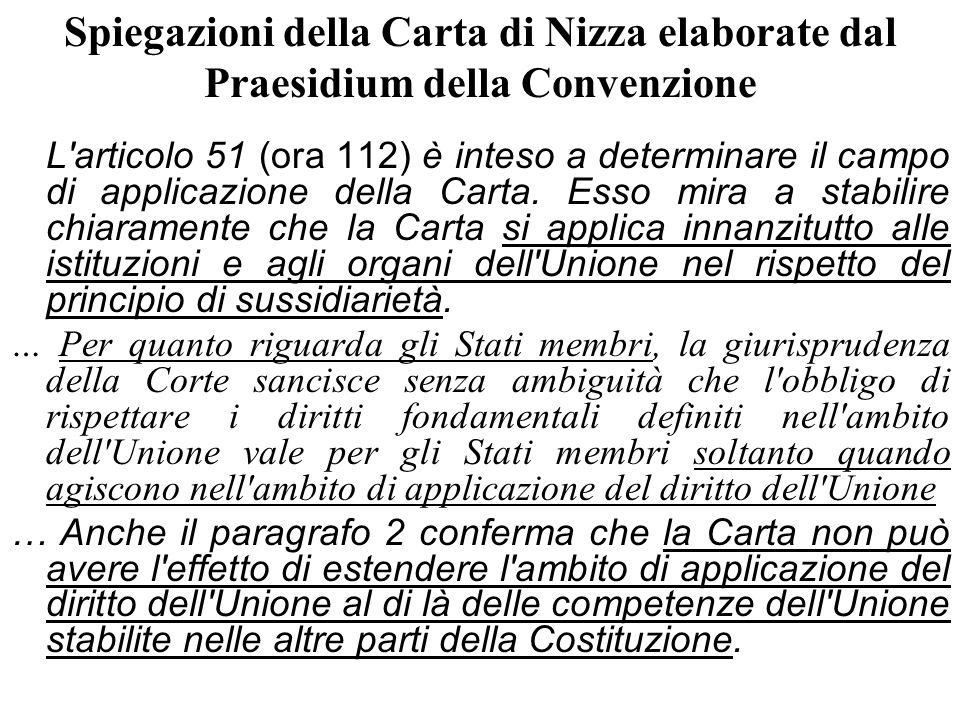 Spiegazioni della Carta di Nizza elaborate dal Praesidium della Convenzione