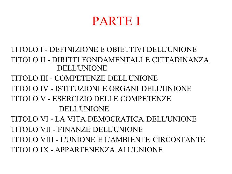 PARTE I TITOLO I - DEFINIZIONE E OBIETTIVI DELL UNIONE