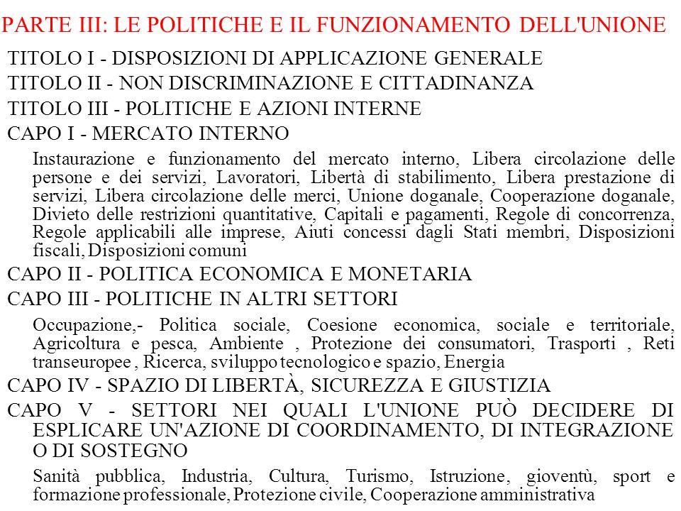 PARTE III: LE POLITICHE E IL FUNZIONAMENTO DELL UNIONE
