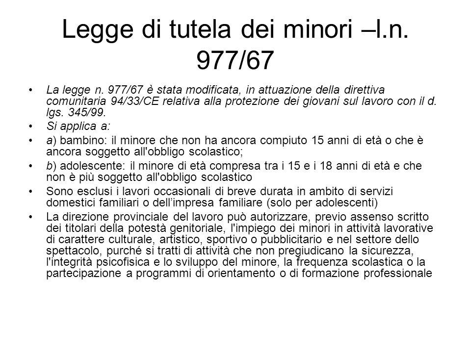 Legge di tutela dei minori –l.n. 977/67