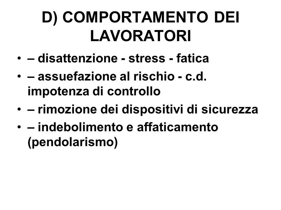 D) COMPORTAMENTO DEI LAVORATORI