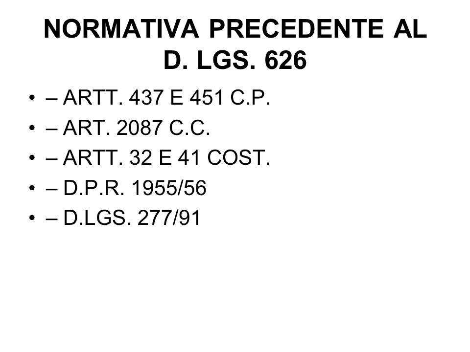 NORMATIVA PRECEDENTE AL D. LGS. 626