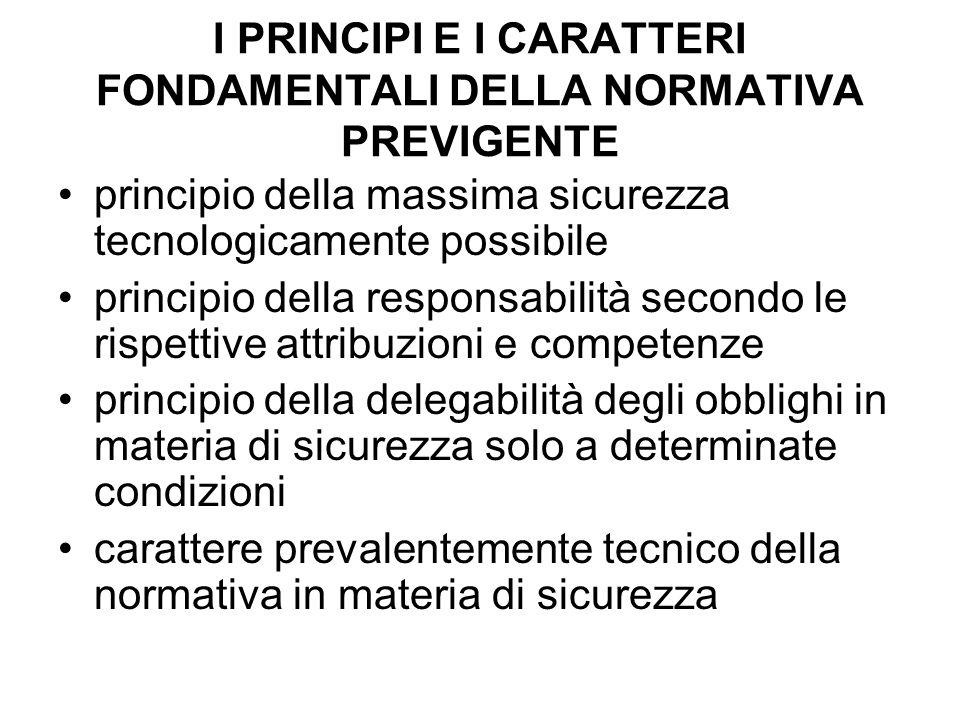 I PRINCIPI E I CARATTERI FONDAMENTALI DELLA NORMATIVA PREVIGENTE