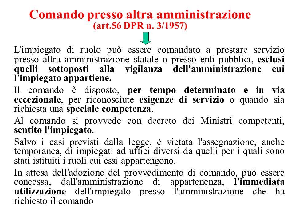 Comando presso altra amministrazione (art.56 DPR n. 3/1957)