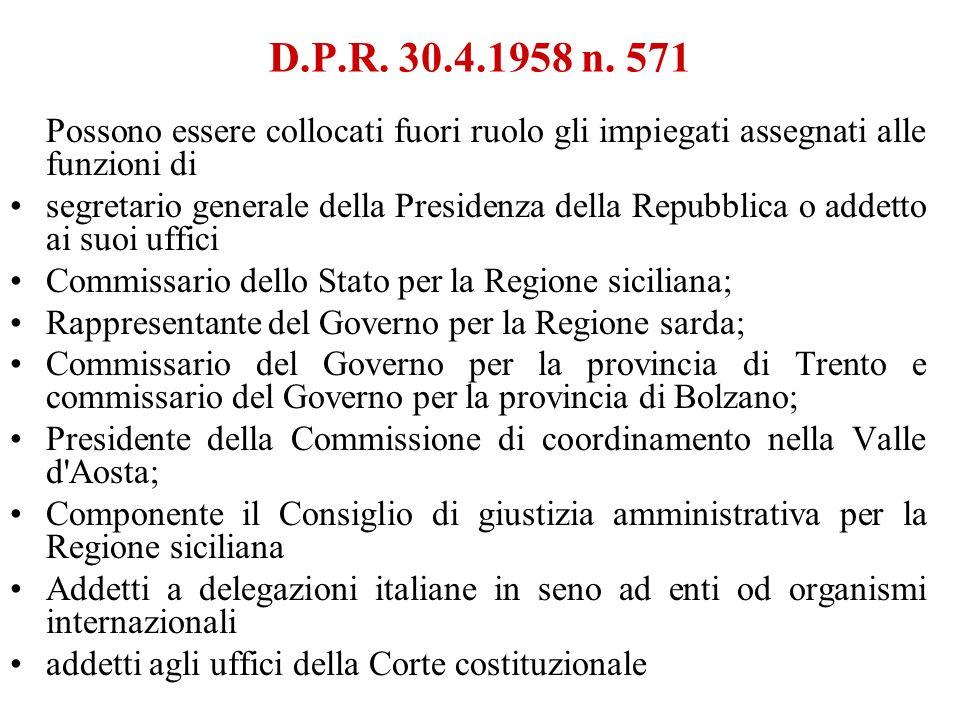 D.P.R. 30.4.1958 n. 571Possono essere collocati fuori ruolo gli impiegati assegnati alle funzioni di.