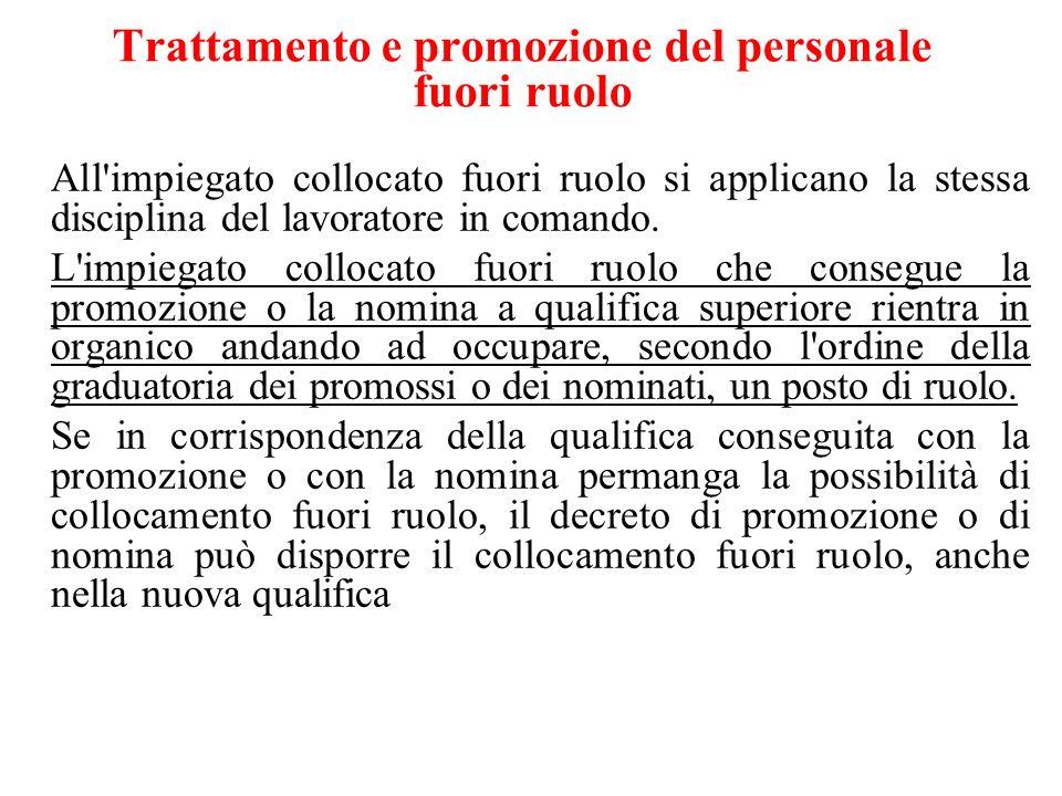 Trattamento e promozione del personale fuori ruolo