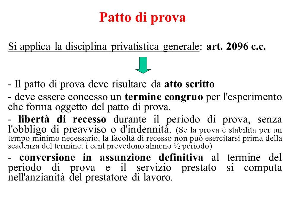 Patto di prova Si applica la disciplina privatistica generale: art. 2096 c.c. - Il patto di prova deve risultare da atto scritto.