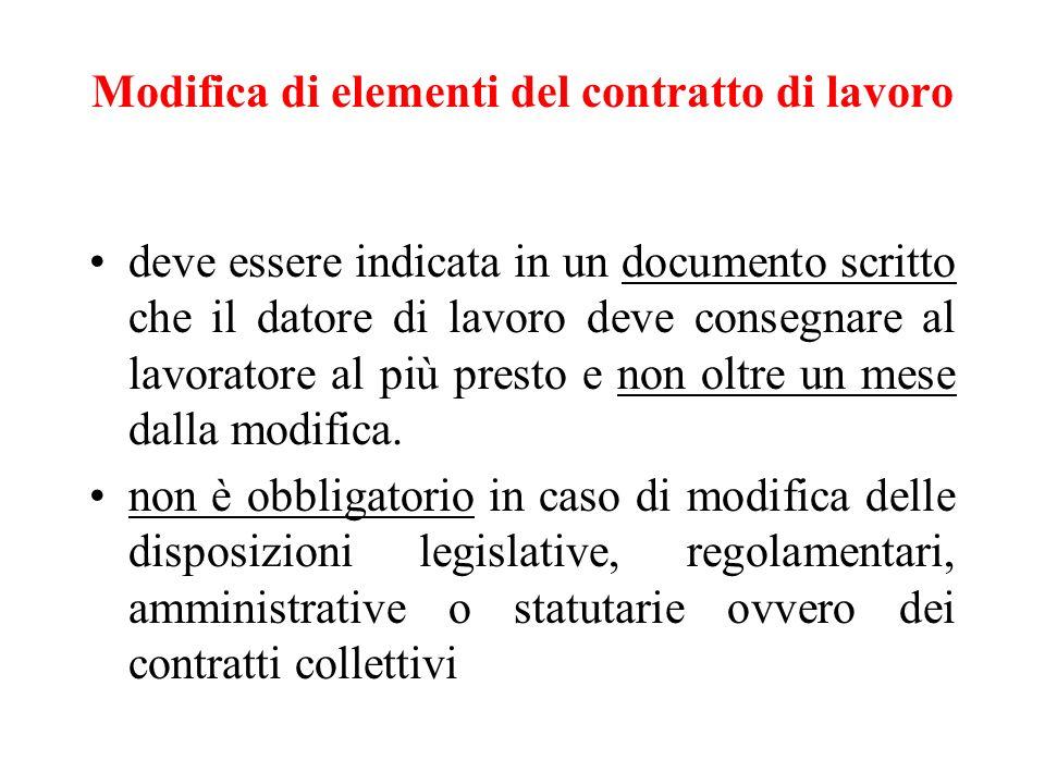 Modifica di elementi del contratto di lavoro