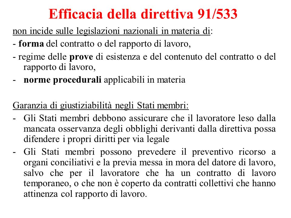 Efficacia della direttiva 91/533