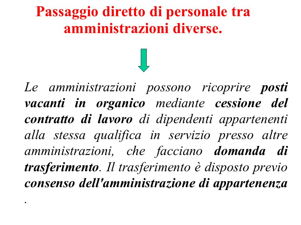 Passaggio diretto di personale tra amministrazioni diverse.