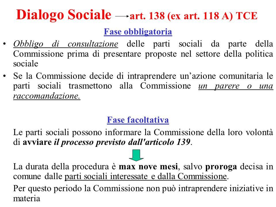 Dialogo Sociale art. 138 (ex art. 118 A) TCE