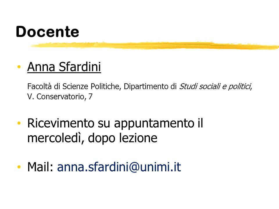 Docente Anna Sfardini. Facoltà di Scienze Politiche, Dipartimento di Studi sociali e politici, V. Conservatorio, 7.