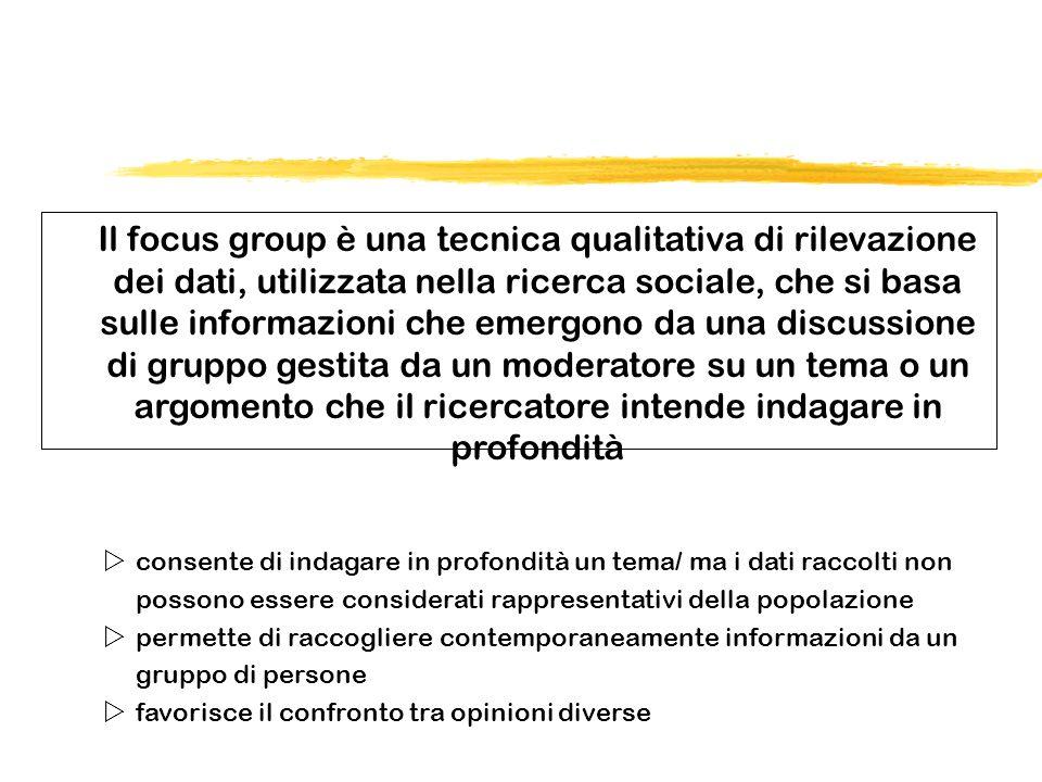 Il focus group è una tecnica qualitativa di rilevazione dei dati, utilizzata nella ricerca sociale, che si basa sulle informazioni che emergono da una discussione di gruppo gestita da un moderatore su un tema o un argomento che il ricercatore intende indagare in profondità