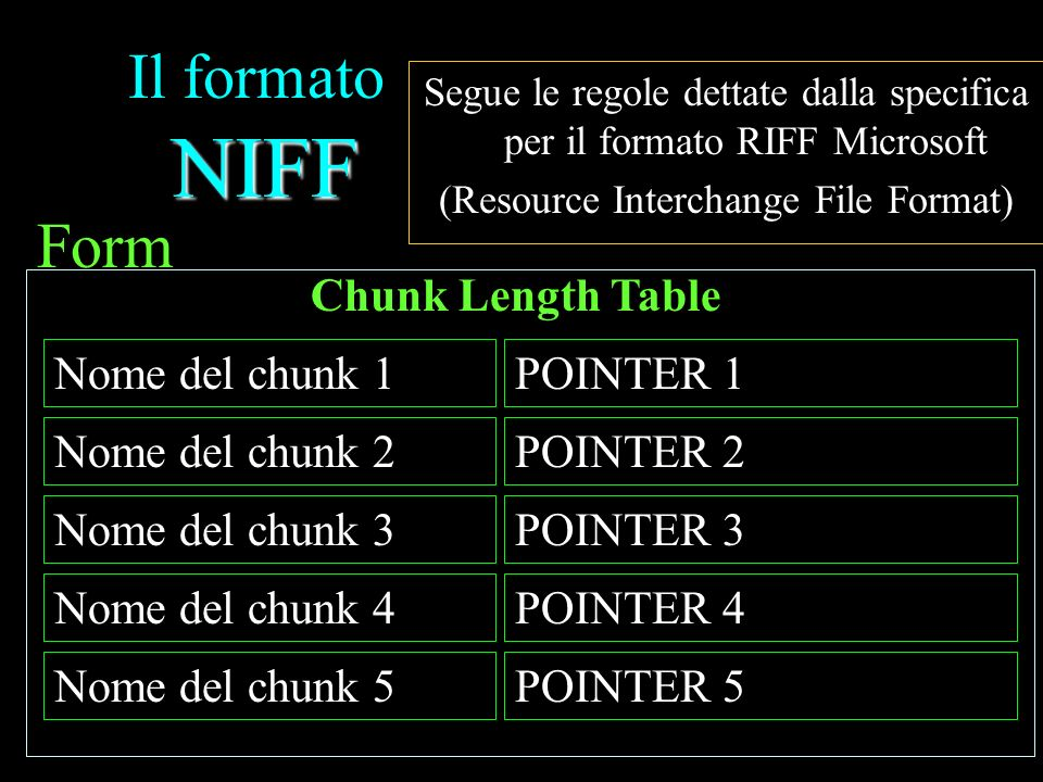 Il formato NIFF Form Chunk Length Table POINTER 1 Nome del chunk 1