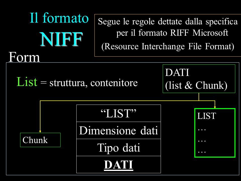Il formato NIFF Form List LIST Dimensione dati Tipo dati DATI