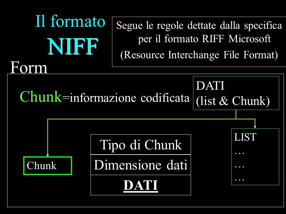 Il formato NIFF Form Chunk Tipo di Chunk Dimensione dati DATI