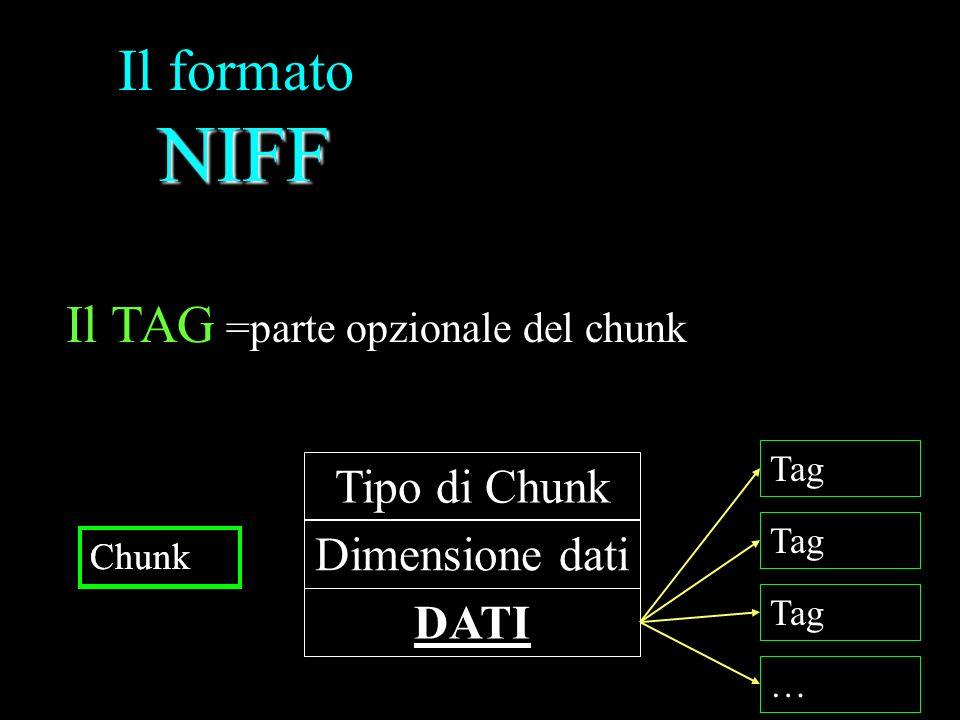 Il formato NIFF Il TAG Tipo di Chunk Dimensione dati DATI